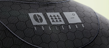 Vollebak logo on the Condition Black Ceramic Baselayer. See more at vollebak.com