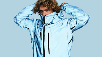 The Blue Morpho jacket features a super high front collar with chin-guard and air vents
