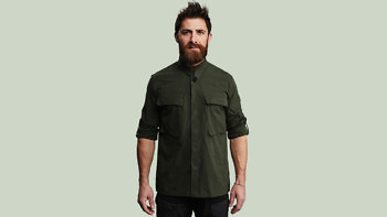 P E green full front sleeve up collar 1376