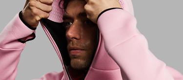 Wear the Baker Miller Pink Relaxation Hoodie to relax and recover after sport | Buy at www.vollebak.com