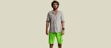 Vollebak Mountain Shirt with the Ocean Shorts: Green edition. Buy at vollebak.com